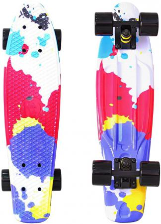 Скейтборд Y-SCOO Fishskateboard Print 22 RT винил 56,6х15 с сумкой Splatter 401G-Sp rt 402e g скейтборд big fishskateboard glow 27 винил 68 6х19 с сумкой green green