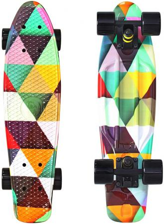 Скейтборд Y-SCOO Fishskateboard Print 22 RT винил 56,6х15 с сумкой Triddent 401G-T rt 402e g скейтборд big fishskateboard glow 27 винил 68 6х19 с сумкой green green