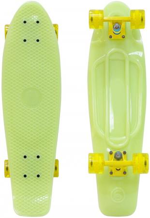 Скейтборд Y-SCOO Big Fishskateboard GLOW 27 RT винил 68,6х19 с сумкой YELLOW/yellow 402E-Y rt 402e y скейтборд big fishskateboard glow 27 винил 68 6х19 с сумкой yellow yellow