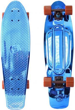 Скейтборд Y-SCOO Big Fishskateboard metallic 27 RT винил 68,6х19 с сумкой BLUE/brown 402H-Bl скейт y scoo big fishskateboard metallic 27 orange black 402h o