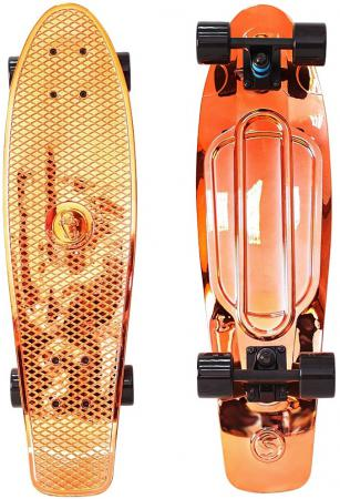 Скейтборд Y-SCOO Big Fishskateboard metallic 27 RT винил 68,6х19 с сумкой ORANGE/black 402H-O rt 402 o скейтборд big fishskateboard 27 винил 68 6х19 с сумкой orange black