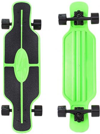Скейтборд Y-SCOO Longboard Shark TIR 31 RT пластик 79х22 с сумкой GREEN/black 408-G 4 wheel skateboard complete longboard 41 inch
