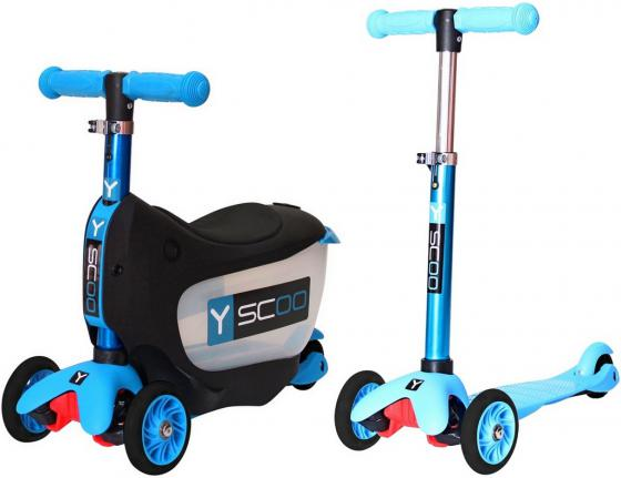 Самокат-каталка трехколёсный Y-SCOO Mini Jump&Go aqua 5/3 голубой