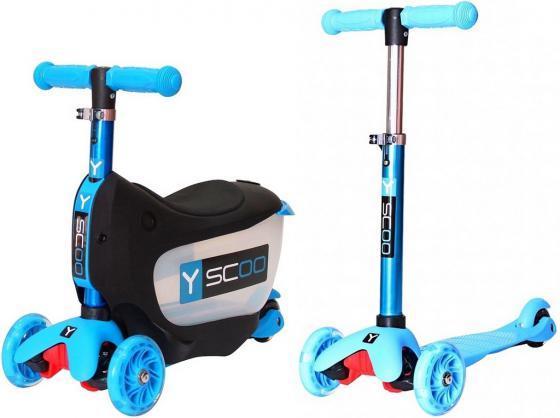Самокат-каталка трехколёсный Y-SCOO Mini Jump&Go aqua 5/3 голубой со светящимися колесами
