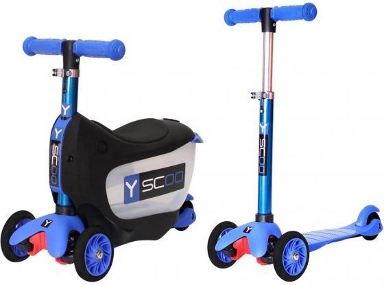 Самокат-каталка трехколёсный Y-SCOO Mini Jump&Go синий