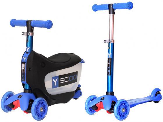 Самокат-каталка трехколёсный Y-SCOO Mini Jump&Go синий со светящимися колесами