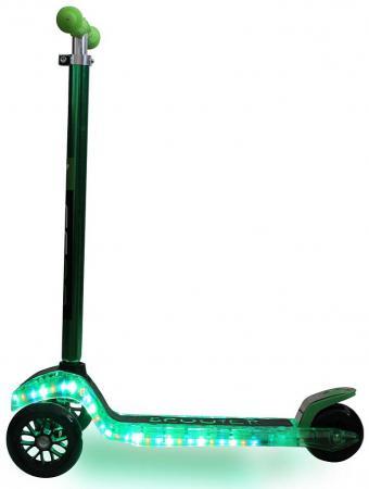 Самокат трехколёсный Y-SCOO MAXI Laser Show зеленый