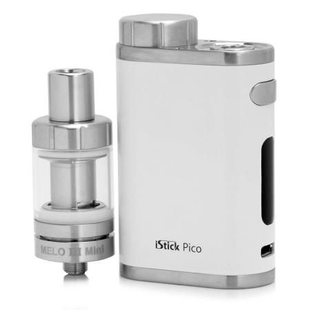 Батарейный мод Eleaf iStick Pico Kit 75 W белый + клиромайзер Melo 3 g rante istick pico 75w box mod kit vape electronic cigarette add melo 3 mini atomize