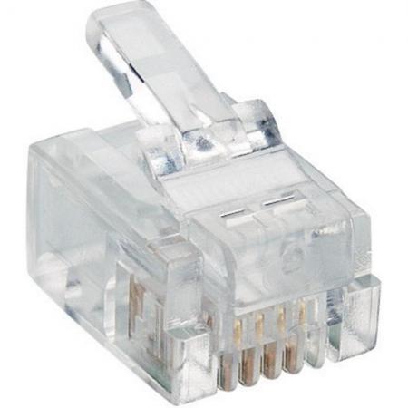 Упаковка коннекторов RJ-11 6P4C 100шт коннектор rj 12 6p4c 100шт proconnect 05 1012 3