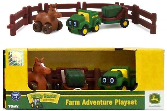 Игровой набор Tomy Приключения трактора Джонни и лошади на ферме 9 предметов 37722-2 трактор tomy john deere зеленый 19 см с большими колесами звук свет
