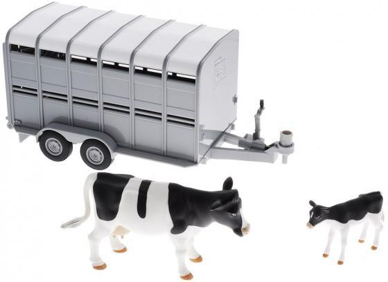 Игровой набор Tomy Трейлер для перевозки животных с коровой и теленком 3 предмета 42709 игровые наборы tomy britains big farm фермерский прицеп со свинками