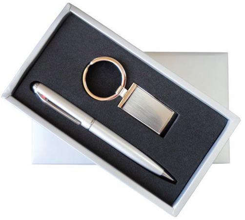Набор: ручка шариковая + брелок, металл
