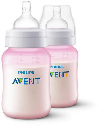 Бутылочка Avent Classic+ розовая, Pp, 260 мл, сил. соска, медл. поток, 1+, 2 шт., арт. 80028