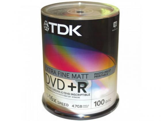 Диски DVD+R TDK 16x 4.7Gb CakeBox 100шт 19504 dvd r vs 4 7gb 16х 10шт cake box