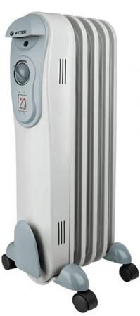 цена Масляный радиатор Vitek VT-2121(GY) 1500 Вт серый онлайн в 2017 году