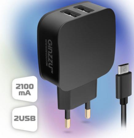Фото - Зарядное устройство GINZZU GA-3010UB 220V->5V 2А microUSB черный зарядное