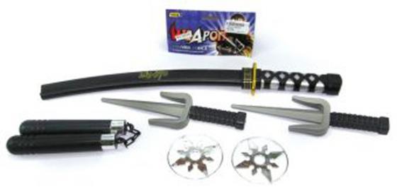 """Оружие Shantou Gepai """"Ниндзя"""" черный серебристый серый 6 предметов 88596"""