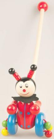 Каталка на палочке Mapacha Божья коровка дерево от 3 лет съёмная ручка разноцветный 76411 каталка на шнурке mapacha божья коровка полесье от 1 года красный пластик на колесах