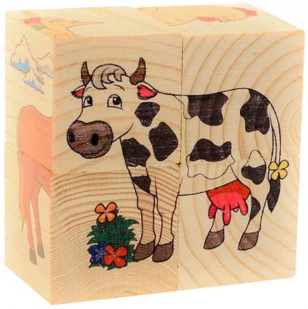 Кубики Русские деревянные игрушки Домашние животные 4 шт Д480а кубики русские деревянные игрушки репка 4 шт д504а