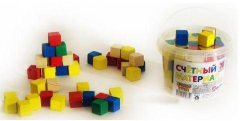 Счетный материал Русские деревянные игрушки кубики 65шт. Д013c деревянные игрушки анданте кубики пазл транспорт