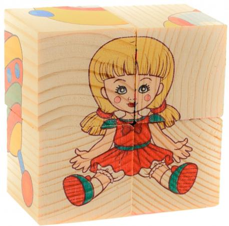 Кубики Русские деревянные игрушки Игрушки Д482а 4 шт деревянные игрушки анданте кубики пазл транспорт