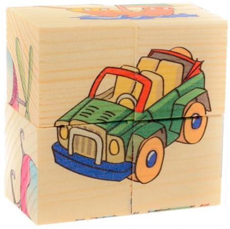 """Кубики Русские деревянные игрушки """"Транспорт"""" 4 шт Д483а"""