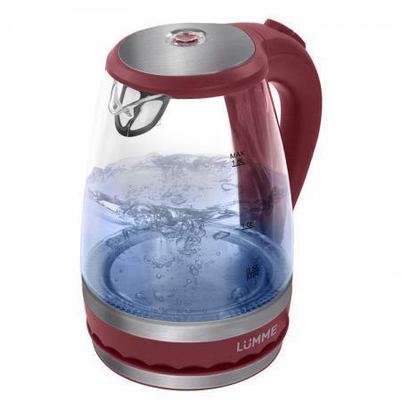 Чайник Lumme LU-220 2200 Вт 1.8 л пластик/стекло красный гранат термопот lumme lu 295 blue sapphire