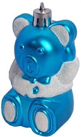 Елочные украшения Новогодняя сказка Мишка 8,5 см 4 шт голубой пластик 97714