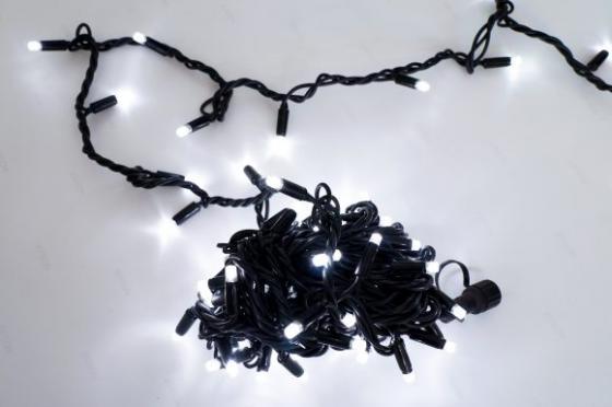 Гирлянда электрическая Новогодняя сказка 100 LED,уличная, синее  свечение, черный провод, 5 м