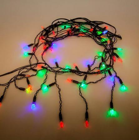 Гирлянда электрическая Новогодняя сказка Свечи 51 LED Портьера цветного свечения, черный провод2, м, мигающий свет 971035