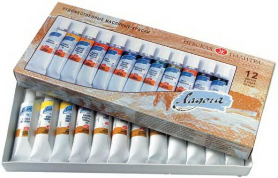 Краски масляные Завод художественных красо ЛАДОГА 12 цветов разноцветная 1241004 недорого