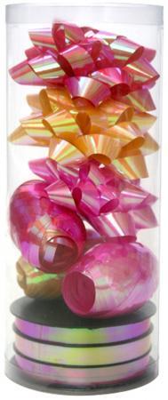 Набор для подарочной упаковки:бантики 3 шт.х9 см, лента 3 шт.х5 ммх20 м,лента 3 шт.х10 ммх20 м, ПВХ цена