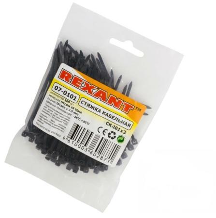 Хомуты Rexant 07-0101 2.5х100мм 100шт черный цена