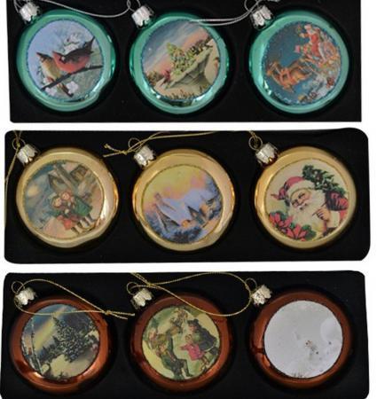 Елочные украшения Winter Wings ДИСК ОТКРЫТКИ 7 см 3 шт разноцветный стекло ассортимент N07747