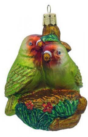 Елочные украшения Winter Wings ПОПУГАЙЧИКИ 8 см 1 шт разноцветный стекло N07130