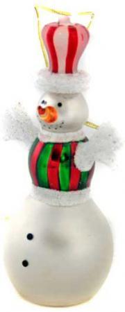 Елочные украшения Winter Wings Снеговик в шляпе 12 см 1 шт белый стекло N07336