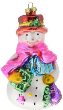 лучшая цена Елочные украшения Winter Wings Снеговик с мешком 13 см 1 шт белый стекло N07333