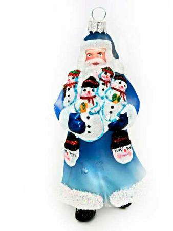 цена на Дед Мороз Winter Wings ДЕД МОРОЗ С ПОДАРКОМ 10 см 1 шт синий стекло N07610