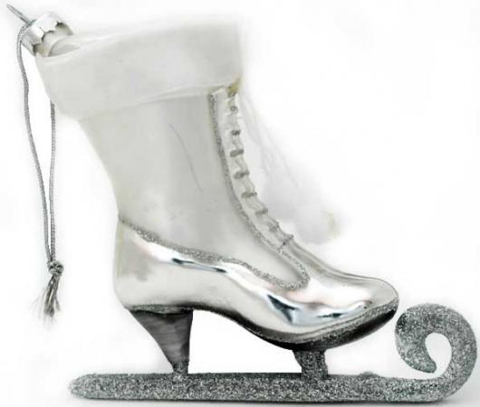 Украшение Winter Wings КОНЬКИ 11 см 1 шт серебро стекло N07575 цена и фото