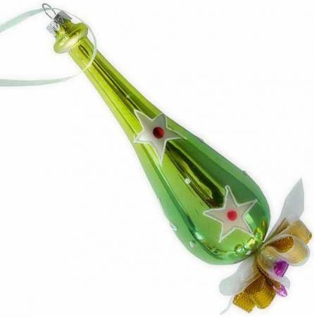 Елочные украшения Winter Wings Подвеска. Капля 18 см 1 шт зеленый стекло N07481 цены