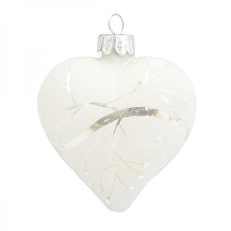 Украшение Winter Wings СЕРДЦЕ 7 см 1 шт белый стекло N07935 цена и фото