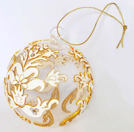 Украшение елочное ШАР АЖУР, 7,5 см, стекло, эмаль N079088 елочное украшение шар цвет розовый 10 см