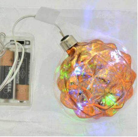 Елочные украшения Winter Wings Шар Барокко с LED 8 см 1 шт стекло N07728
