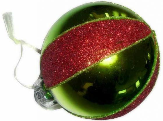 цены Елочные украшения Winter Wings Шар полоска 8 см 1 шт зеленый стекло N07477