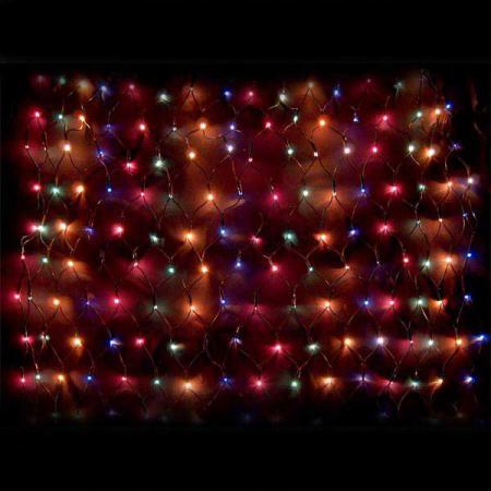 Гирлянда электрическая сетка-рис, 160 ламп, разноцветные, 1,2 x 0,8+ 2 м, с контроллером цена и фото