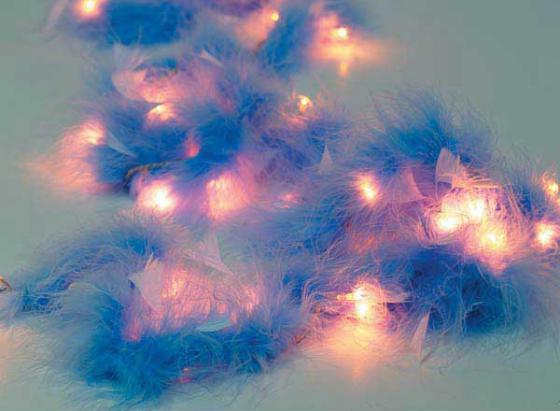 Гирлянда электрическая с перьями, 40 ламп, 195 см, синие с белым 11172/C цена и фото