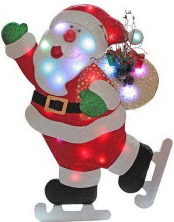 Светильник декоративный панно ДЕД МОРОЗ на коньках,с блестящей крошкой, на батарейках,24 цветных лам