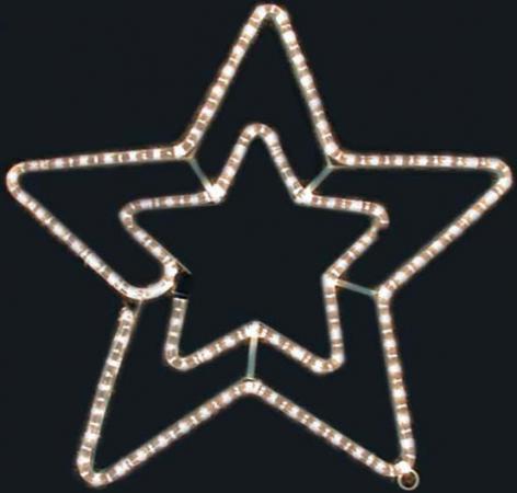 Гирлянда электрическая панно из дюралайта ЗВЕЗДА, 50 см, 90 ламп N11144 гирлянда электрическая led звезды на батарейках 90 см 10 ламп