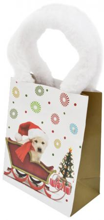 Пакет подарочный бумажный ламинированный, 111х137х62 мм, с меховыми ручками таз idea с ручками цвет красный 24 л