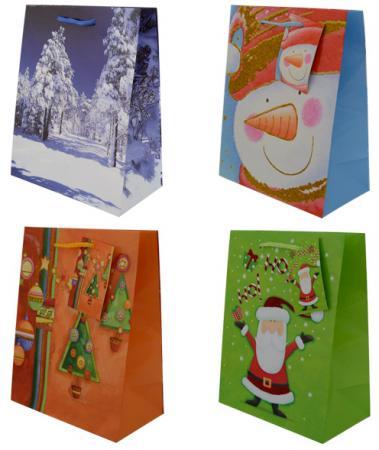 Пакет подарочный Winter Wings N13345 180х230х98 мм с блестящей крошкой в ассортименте росмэн пакет подарочный маша новогодняя 230 180 100